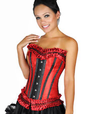 Plus Size Red Boned Lace Up Corset Bustier Christmas Holiday Costume Xl