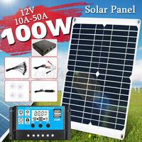 Kit Solare Fotovoltaico Pannello Flessibile 100W 12V Regolatore Per Camper Tende