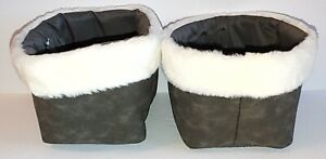Threshold - Faux Suede Basket with Fur Trim - Gray - Set of 2