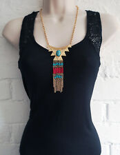 "Gorgeous 22"" gold tone - turquoise & red bead  tribal look chain charm necklace"