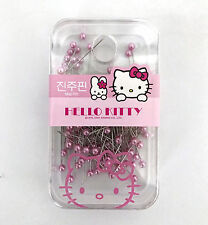 Sanrio Hello Kitty Pink Pearl Round Plastic Map Pin Case Set USA