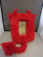 VALENTINE RED FAUX FUR HORNY DEVIL MIRROR WITH TAIL