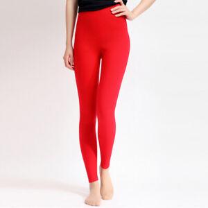 Womens Seamless Leggings Wool Blend High Waist Warm Stretch Pants Slim Trousers