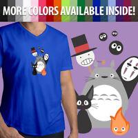 Ghibli Totoro No Face Jiji Kiki Howl's Castle Mens Unisex Top Tee V-Neck T-Shirt