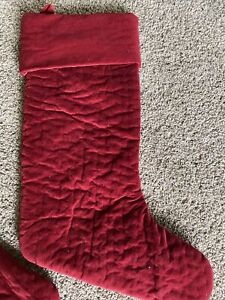 "Pottery Barn Red Channel Quilted Velvet Stocking Large 11"" X 20"""