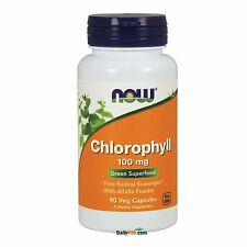 NOW FOODS® Chlorophyll 100 mg - 90 Capsules, Fresh, Free Shipping, Made in USA