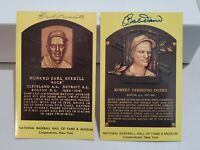 Bobby Doerr & EARL AVERIL Hall of Fame -Autographed Hall of Fame Plaque Postcard