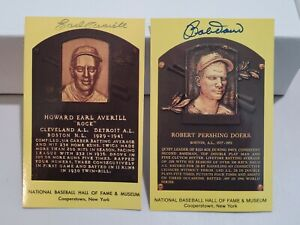 Bobby Doerr & EARL AVERIL Hall of Fame -Autographed Hall of Fame Plaque Postcard