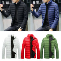 Men's Fashion Down Coat Winter Warm Zipper Jacket Slim Fit Solid Coat 9 Colors