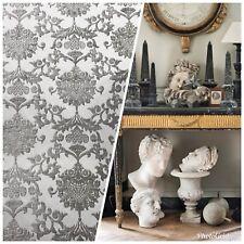 SWATCH Designer Satin Burnout Chenille Velvet Fabric - Gray Upholstery Damask