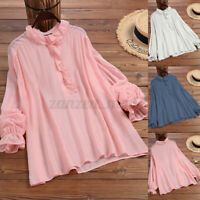 ZANZEA Women Casual Holiday Shirt Tee Tops Ruffle Frill Blouse Pullover T-Shirt