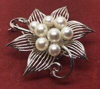 Vintage Sterling Silver Brooch Pin 925 Mid Century Flower Faux Pearl Pendant
