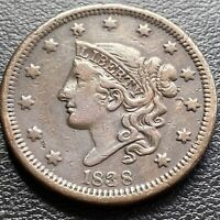 1838 Large Cent Coronet Head One Cent 1c Higher Grade XF  #29010