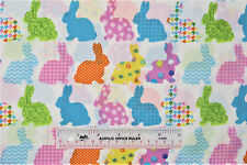 EASTER Patterned Bunnies Rows White Cotton Fabric   BTY   (E) +