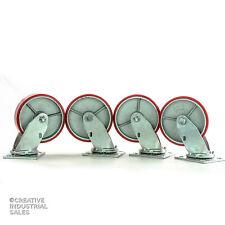 "6"" x 2"" Swivel Casters Polyurethane Wheel on Steel Hub 1200lb ea. (4) Tool Box"