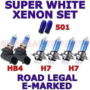 VOLKSWAGEN EOS CABRIO 2007+ SET H7 HB4 501 HALOGEN SUPER WHITE LIGHT BULBS