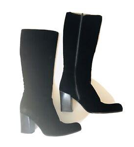 Vintage PRADA Velluto Loden Boots Black Velvet Knee High Heel Size 38 US 7.5