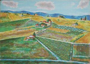 Nino Tirinnanzi litografia Estate in Chianti 1974 70x50 firmata pubblicata