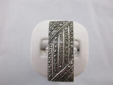 Vintage Estate Art Deco Solid Sterling Silver Marcasite Ring Signed Theda sz.9