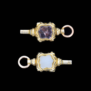 Antique Amethyst and Chalcedony Gold Watch Key Fob Pendant Charm