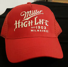 MILLER HIGH LIFE Est. 1903 Milwaukee. Embroidered Mesh Hat/Cap Adjustable NWT