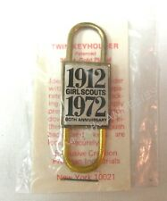 24K Gold Plate TWIN KEY HOLDER/Ring 1972 60th Girl Scout ANNIVERSARY. COLLECTOR