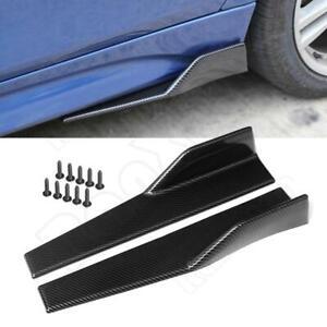 2Pcs Universal Carbon Fiber Car Side Skirts Rocker Splitters Anti-scratch Wings