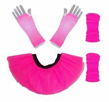 Neon Pink Tutu Skirt Legwarmers Fishnet Glove 80s Fancy Dress Hen Party Fun Run