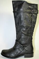 Journee Collection Harley Women Black Faux Leather Fashion Knee-High Boot Size 7