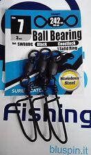 SURE CATCH Moschettoni  Black Ball Bearing Coast Lock Swivel Solid Ring - Size 7