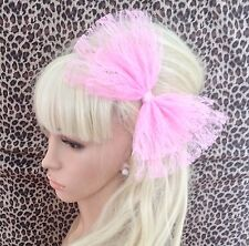 NEW BIG PALE SUGAR PINK LACE DOUBLE BOW HAIR CLIP 80s RETRO PARTY FANCY DRESS