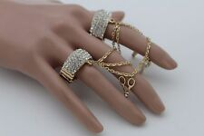 Band 2 Fingers Hair Brush Mirror Women Ring Gold Metal Chains Fashion Elastic