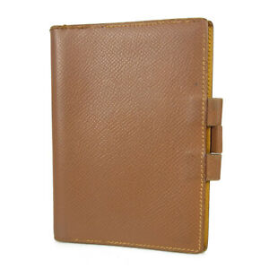 Auth HERMES Logos Cherve Leather Mini Agenda Cover Daily Planner Brown 16432b