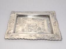SUPERB RARE ANTIQUE 19th CENTURY DUTCH SOLID SILVER EMBOSSED PIN DISH  c1880