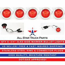 "5- 3/4"" RED 3 LED CLEARANCE SIDE MARKER BULLET LIGHTS CHROME RING TRAILER TRUCK"