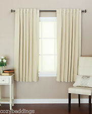 Back-Tab Thermal Insulated  Black Out Curtain Set Beige Brown Black Color Window