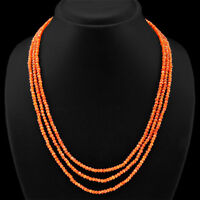 FINEST TOP SELLING 132.00 CTS NATURAL 3 LINE ORANGE CARNELIAN BEADS NECKLACE