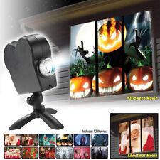 12 películas Navidad Halloween ventana teatro proyector Wonderland luz láser