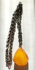 Yolk Baltic Amber Necklace Pendant. Natural Old Antique Butterscotch Egg