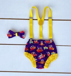 3 Piece The Wiggles Cake Smash Outfit - First Birthday Outfit - Baby Boy Purple