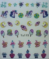 Nail Art Water decals Stickers Transfers Unicorns Stars Rainbow Teacup Lolly 115