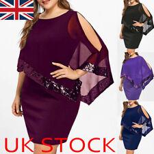 Plus Size UK Women Sequin Mini Dress Ladies Casual Evening Cocktail Party Dress