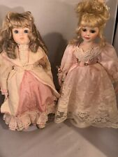 vintage porcelain dolls pair of two in pink princess outfits