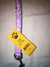 "Soft Collar Dog 🐶 Leash 6' X 5/8"" Wide [Purple Violet  Dog Paws] [Brand New]🐶"