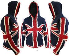 Union Jack Woolen Fleece Lined Winter Pocket Warm Nepalese Jacket Jumper Hoodie