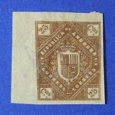 1875 ANDORRA SPANISH 25C UNISSUED STAMP SCOTT# - MICHEL #- UNUSED IMPERF CS25521