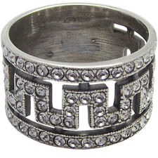 CRYSTAL GREEK KEY PATTERN RING STERLING SILVER HALLMARKED 925 FROM ARI D NORMAN