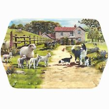 Collie & Sheep Design Small Melamine Food Lunch Tea Coffee Snack Serving Tray