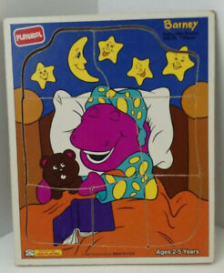 Playskool Barney Wooden Puzzle 1993 Beddy Bye Barney 7 pieces