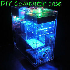 Gaming PC Case DIY Clear Acrylic Computer Case Fr ATX MB Water Cooling W LED Bar